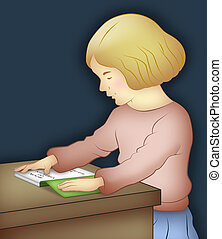 Girl Reading - Girl sitting reading a book on table