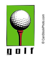 Golf Ball - Golf ball on red golf peg.