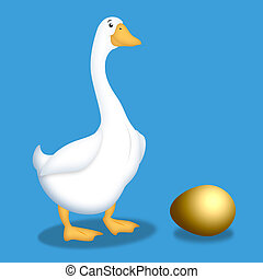 Goose With Golden Egg - Cartoon goose with golden egg next...
