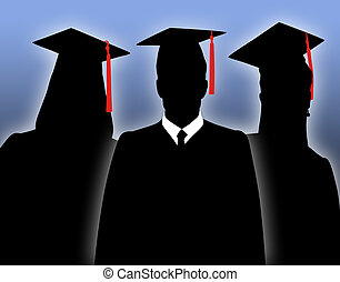 Graduates - Silhouettes of school graduates in togas.