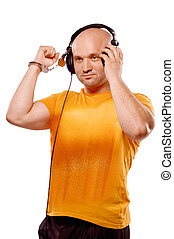 DJ with headphones and handcuffs - DJ man with headphones...