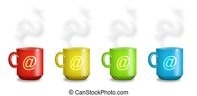 Internet Cafe Mugs - Mugs in red, yellow, green, and blue...