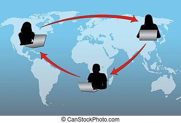 Internet Connectivity - Computer users communicating through...