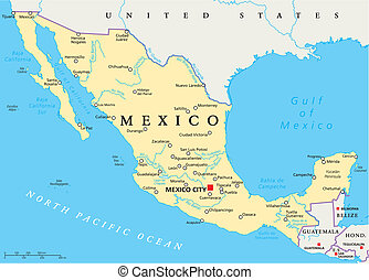 Mexico Political Map with capital Mexico City, national...