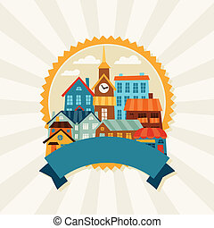 Town background design with cute colorful houses