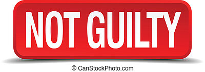 Not guilty red 3d square button isolated on white
