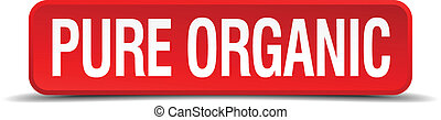 pure organic red 3d square button isolated on white