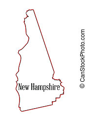 New Hampshire - Outline map of the state of New Hampshire