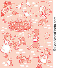 Seamless pattern with playing girls - Seamless pattern or...