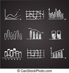 business sketches finance statistics infographics doodle hand drawn elements on blackboard chalkboard. Concept - graph, chart, arrows