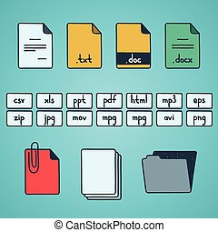 Hand draw doodle sketch set of document file fomats icons.