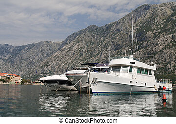 Beautiful white yacht in the Bay of Kotor in Montenegro...