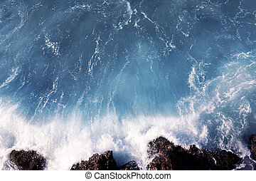 Wave and rocks, sea travel background