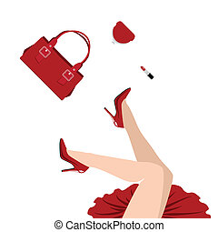 falling in red - falling woman in red dress with handbag,...