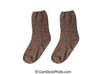 Knitted socks - Winter knitted socks on white background