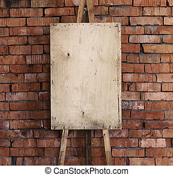 Easel art background, brick wall