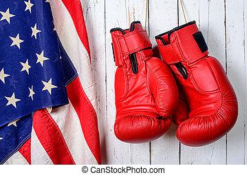 旗, ボクシング, 手袋, アメリカ人, 赤