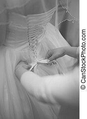 Vestido, colete, preparação, costas, Noiva, casório