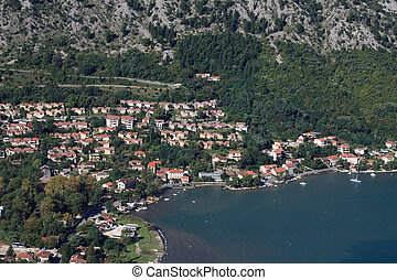 Adriatic coast of Montenegro. Bay of Kotor. Panoramma city