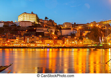 Night scene of Porto, Portugal - Night scene of Porto with...