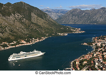 ship quot;Serenade of the Seasquot; in the Bay of Kotor,...
