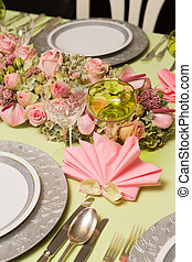 Pink napkins on festive table