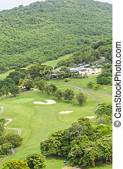 Sand Traps in Tropical Golf Course - A golf course on the...