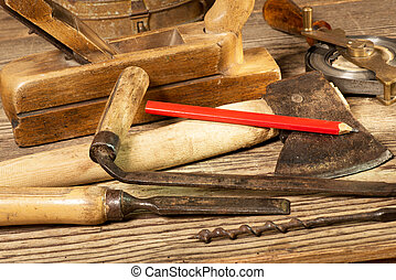 Old Tools - still life with old tools in the workroom