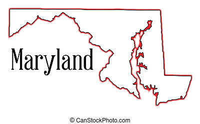 Maryland - Outline map of the state of Maryland