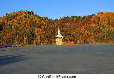 Flooded church in Rosia Montana, natural disaster