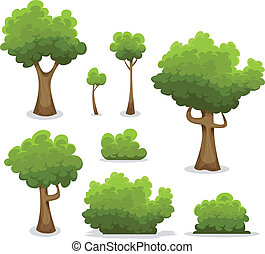 forêt, Arbres, haies, et, buisson, ensemble