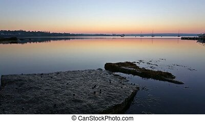 Sailboats in distance early morning - Dawn at Searsport...