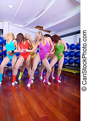 group of girls in fitness studio - girls in fitness studio...