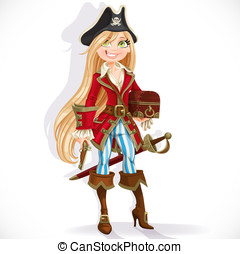 Cute blond pirate girl with cutlass, pistol and chest...