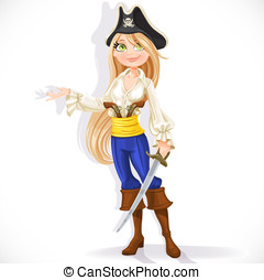 Cute pirate girl with cutlass isolated on a white background
