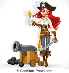 Cute pirate girl with parrot and cannonry isolated on a...