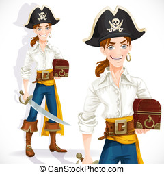 Cute pirate with cutlass and chest isolated on a white...
