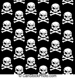 Jolly Roger on black seamless background