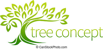 Tree icon concept of a stylised tree with leaves, lends...