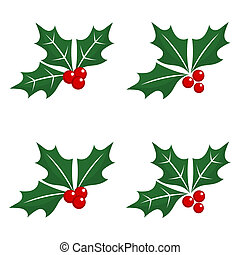 Christmas holly berry icons - Set of holly berry Christmas...