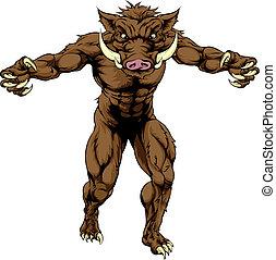 Mean boar mascot - Drawing of an imposing boar sports...