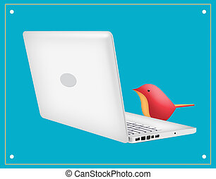 Laptop Bird - Laptop with red bird looking at screen.