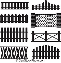 Big set of wooden fence silhouette isolated on white background