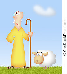 Shepherd With Sheep - Shepherd with his cute sheep