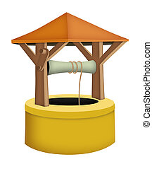Wishing Well - Cartoon wishing well with roof.