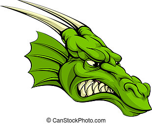 Green dragon mascot - An illustration of a mean looking...