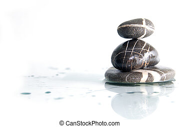 wet zen stones - zen stones with reflection isolated