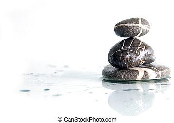 wet zen stones - zen stones with reflection isolated