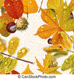 Seamless pattern from autumn leaves and chestnut on the  thread of leave background