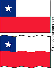 Flat and waving Chilean Flag. Vector illustration